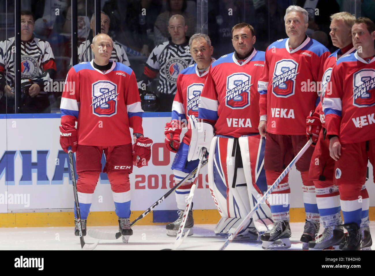 Sochi, Russia. 10th May, 2019. SOCHI, RUSSIA - MAY 10, 2019: Russia's President Vladimir Putin, Russia's Defence Minister Sergei Shoigu, Tula Region Governor Alexei Dyumin, Night Hockey League President Alexander Yakushev, Russian State Duma member Vyacheslav Fetisov, and World Legends Hockey League President Pavel Bure (L-R) take part in a Night Hockey League gala match at the Bolshoi Ice Palace. Mikhail Metzel/TASS Credit: ITAR-TASS News Agency/Alamy Live News - Stock Image