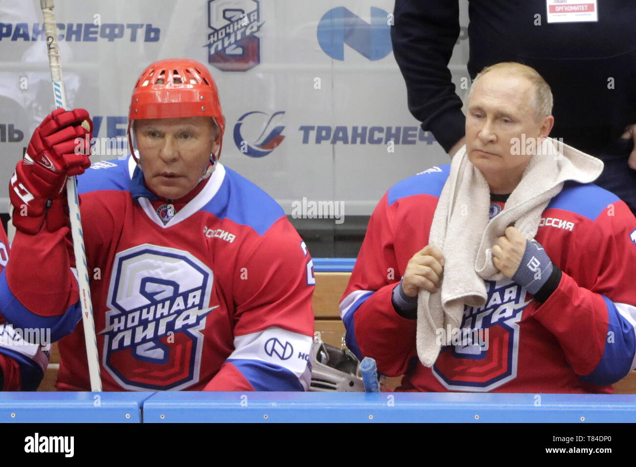 Sochi, Russia. 10th May, 2019. SOCHI, RUSSIA - MAY 10, 2019: Russian State Duma member Vyacheslav Fetisov (L) and Russia's President Vladimir Putin in a Night Hockey League gala match at the Bolshoi Ice Palace. Mikhail Metzel/TASS Credit: ITAR-TASS News Agency/Alamy Live News - Stock Image
