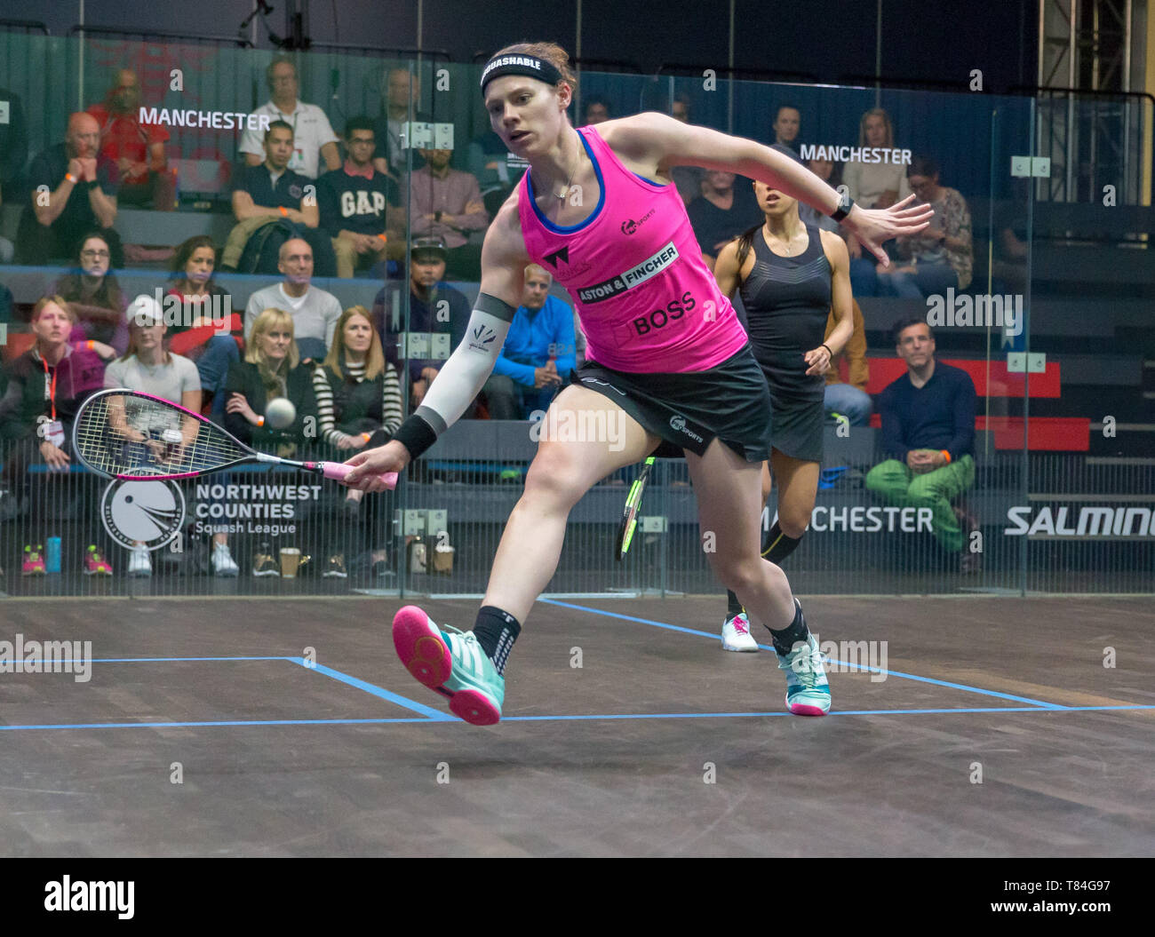 National Squash Centre, Manchester, UK. 10th May, 2019. Manchester Open Squash championships, day 2; Sarah-Jane Perry (ENG) in her second round match against Nicol David (MAS) Credit: Action Plus Sports/Alamy Live News - Stock Image