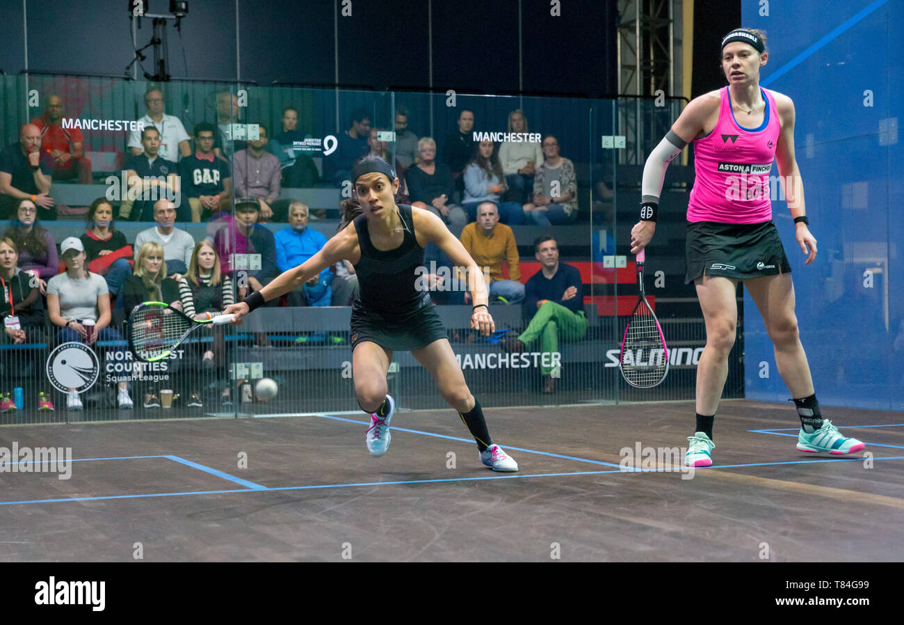 National Squash Centre, Manchester, UK. 10th May, 2019. Manchester Open Squash championships, day 2; Nicol David (MAS) left in her second round match against Sarah-Jane Perry (ENG) Credit: Action Plus Sports/Alamy Live News - Stock Image