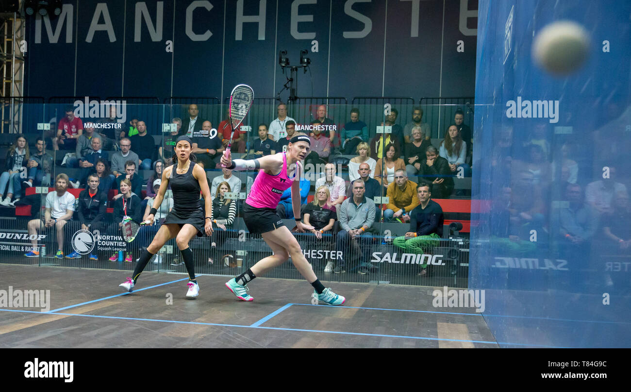 National Squash Centre, Manchester, UK. 10th May, 2019. Manchester Open Squash championships, day 2; Sarah-Jane Perry (ENG) right, in her second round match against Nicol David (MAS) Credit: Action Plus Sports/Alamy Live News - Stock Image