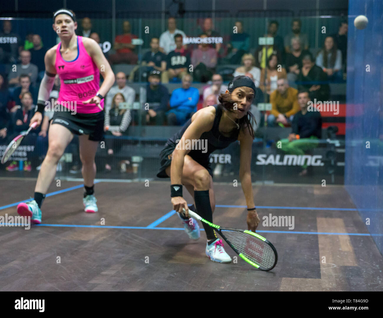 National Squash Centre, Manchester, UK. 10th May, 2019. Manchester Open Squash championships, day 2; Nicol David (MAS) right, in her second round match against Sarah-Jane Perry (ENG) Credit: Action Plus Sports/Alamy Live News - Stock Image