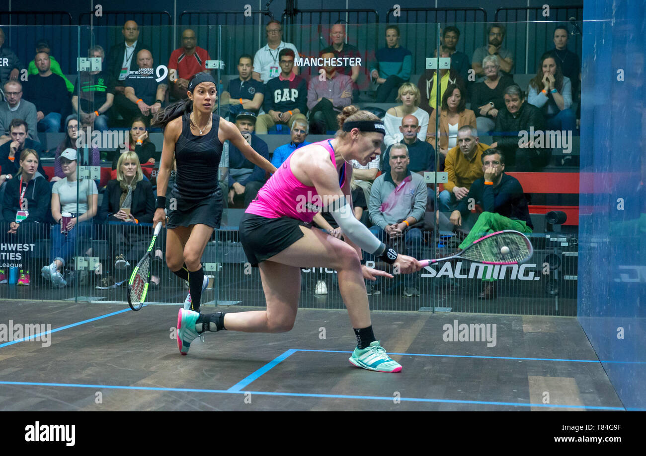 National Squash Centre, Manchester, UK. 10th May, 2019. Manchester Open Squash championships, day 2; Sarah-Jane Perry (ENG)right, in her second round match against Nicol David (MAS) Credit: Action Plus Sports/Alamy Live News - Stock Image