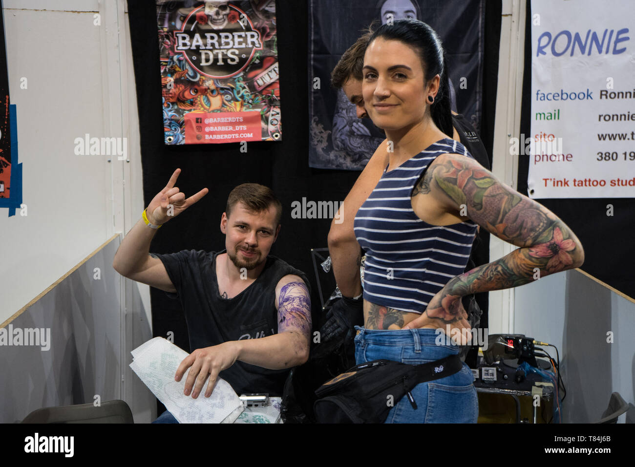 Athens, Attica, Greece. 10th June, 2019. Tattoo artists seen posing for a pic during the event.The Athens Tattoo Convention is a three day annual convention about tattoo and it takes place in Athens, Greece. It has been recognized as one of the best in Europe with visitors from all over the world who come exclusively for the Athens Tattoo Convention experience and also to meet some of the world's most respected tattoo artists. Credit: Nikos Pekiaridis/SOPA Images/ZUMA Wire/Alamy Live News - Stock Image