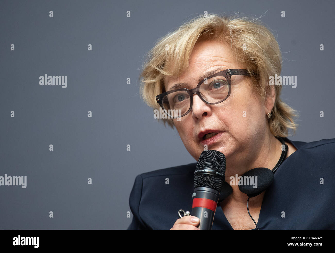 11 May 2019, Baden-Wuerttemberg, Stuttgart: Malgorzata Gersdorf, President of the Polish Supreme Court, will speak at the Haus der Wirtschaft during the award ceremony of the Theodor Heuss Prize. She is the winner of the 2019 award. Photo: Sebastian Gollnow/dpa - Stock Image