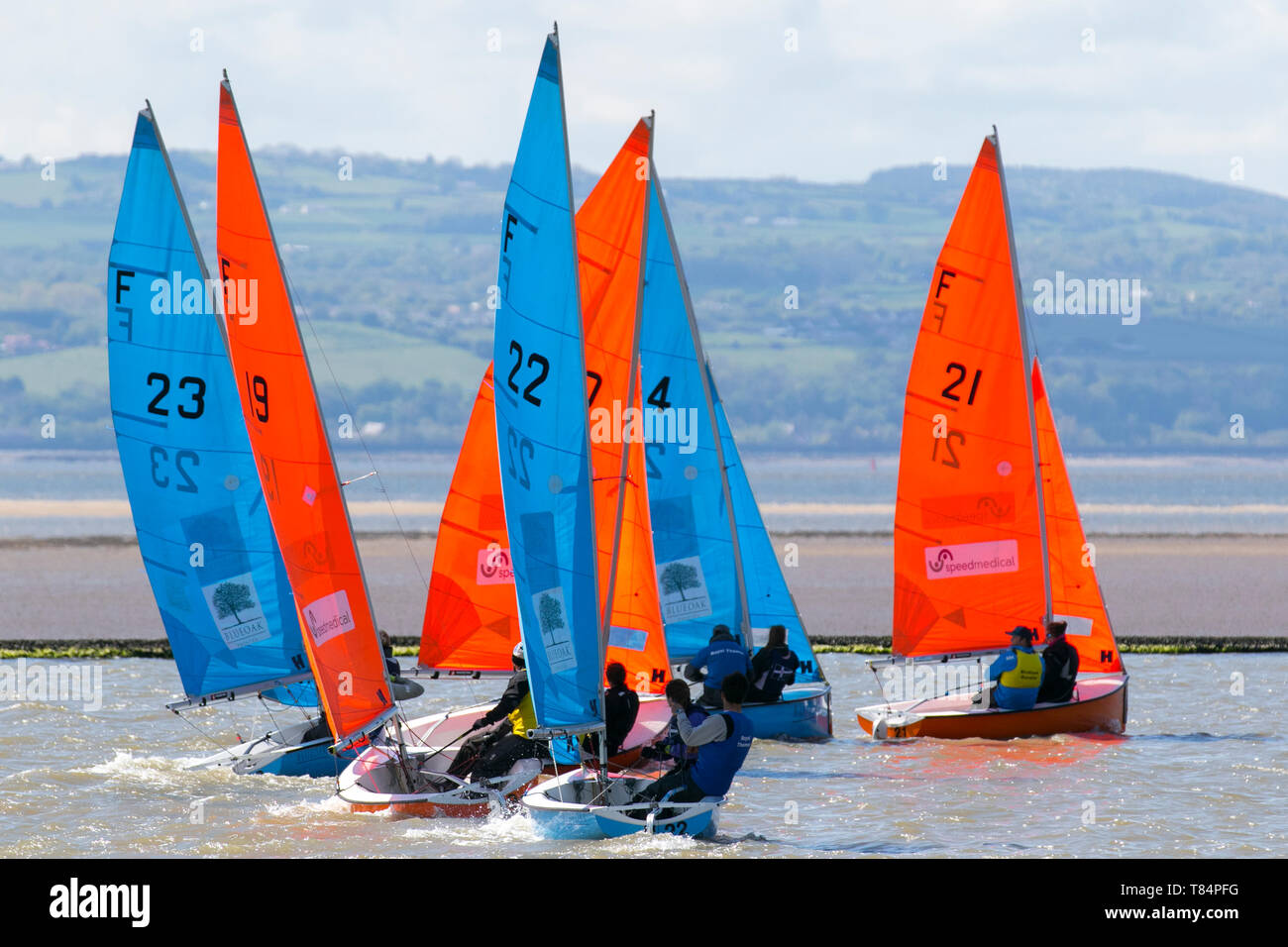 West Kirby, Liverpool, UK. 11th May, 2019. British Open Team Racing Championships Trophy Sailing's Premier League 'The Wilson Trophy' 200. The maximum number of teams has been increased to 36. The 2019 event features 5 American teams, 2 Irish, 1 Australian and making their debut appearance Team Austria. Rounding out the field will be 27 British teams, including defending champions, the West Kirby Hawks. Recent winners also returning are West Exempt, Royal Forth Hoosiers, and Birdham Bandits. Credit: MediaWorldImages/Alamy Live News - Stock Image