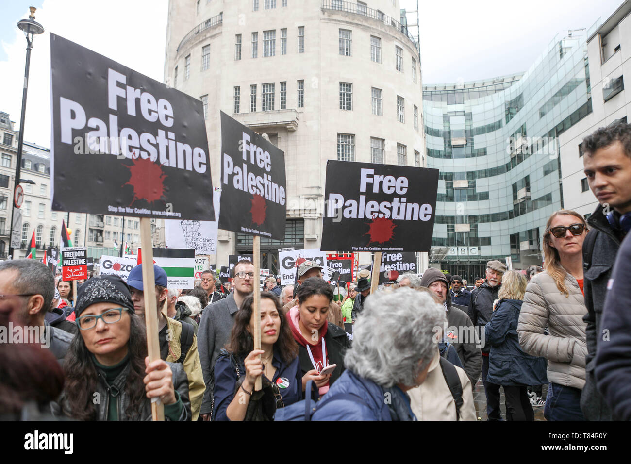 London, UK. 11th May, 2019. National demonstration for Palestine, from Portland Place to Whitehall. As Israel continues to break international law and violate human rights, the demonstration highlights to the global community its responsibility to hold Israel to account and push for an end to the oppression of the Palestinian people. Penelope Barritt/Alamy Live News - Stock Image