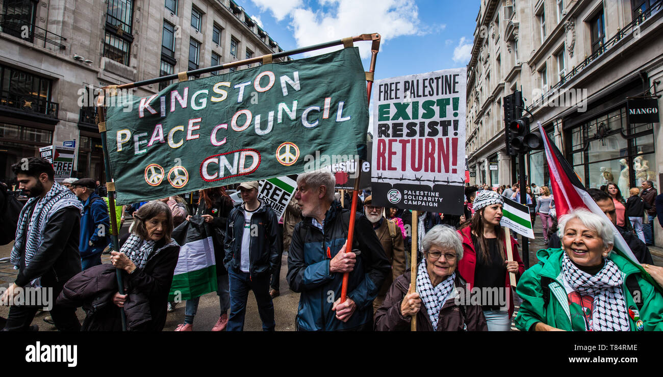 11 May, 2019. London,UK.  Kingston Peace Counci joins thousands marching for Palestine in a central London demonstration organised by the Palestinian Solidarity Campaign. David Rowe/ Alamy Live News - Stock Image