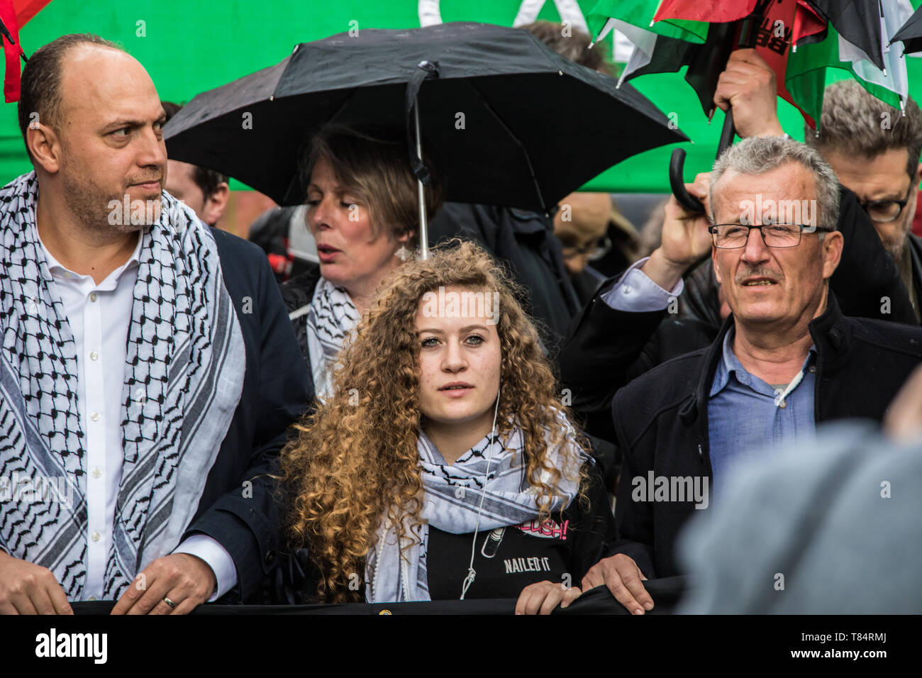 11 May, 2019. London,UK.  Ahed Tamimi joins thousands marching for Palestine in central London in a demonstration organised by the Palestinian Solidarity Campaign. David Rowe/ Alamy Live News - Stock Image