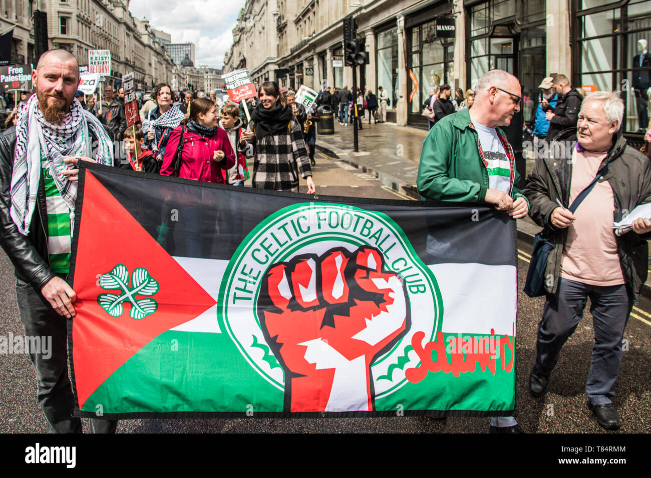 11 May, 2019. London,UK.  Celtic supporters join thousands marching for Palestine in a central London demonstration organised by the Palestinian Solidarity Campaign. David Rowe/ Alamy Live News - Stock Image