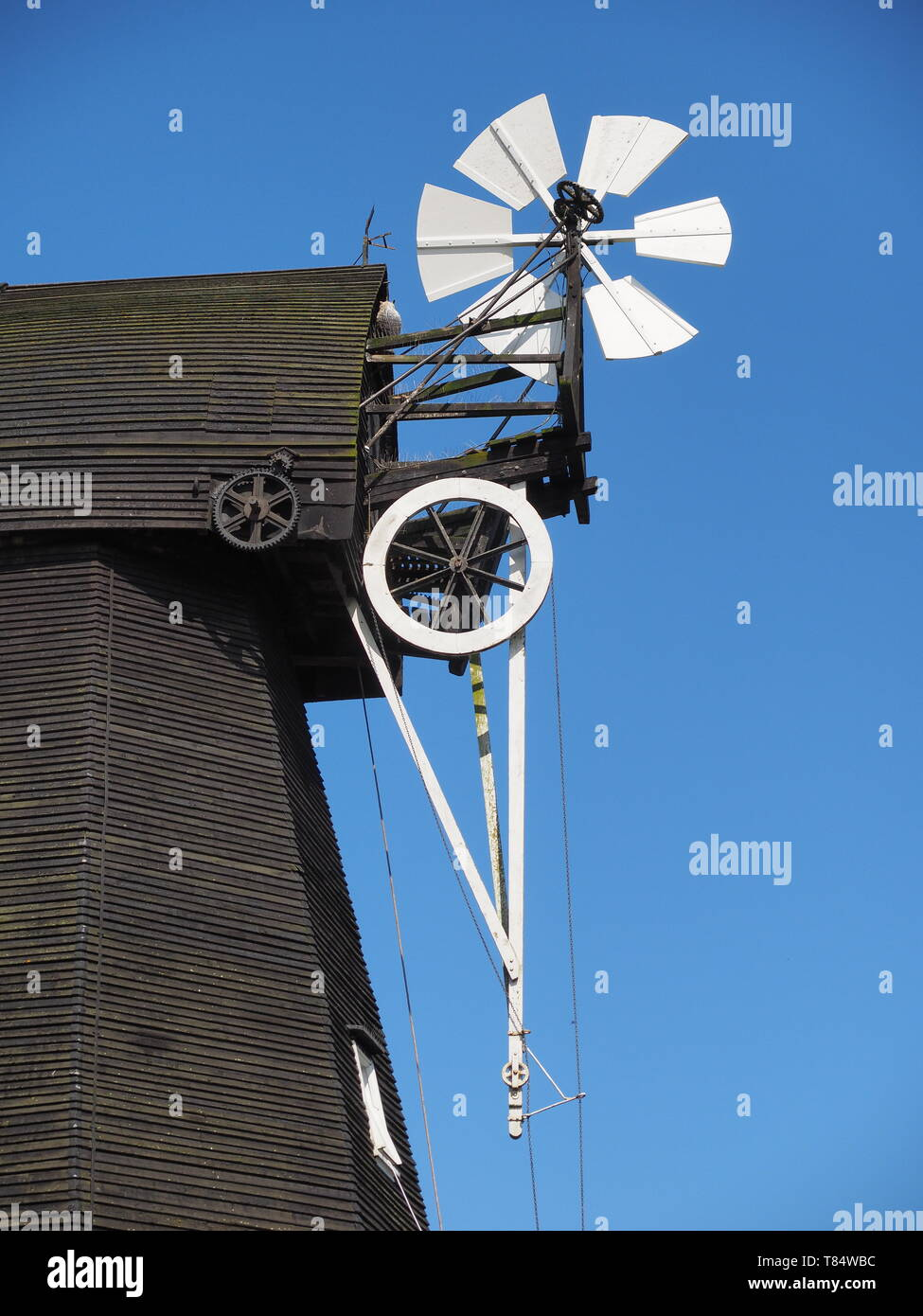 Herne, Kent, UK. 11th May, 2019. National Mills Weekend is the annual festival of British milling heritage: Herne Windmill in Kent took part in this national event by opening the doors of its windmill to the public this afternoon. Herne Mill is a Kentish smock windmill dating from 1789. It is Grade I listed and is owned by Kent County Council and cared for by the Friends of Herne Mill.   Credit: James Bell/Alamy Live News - Stock Image