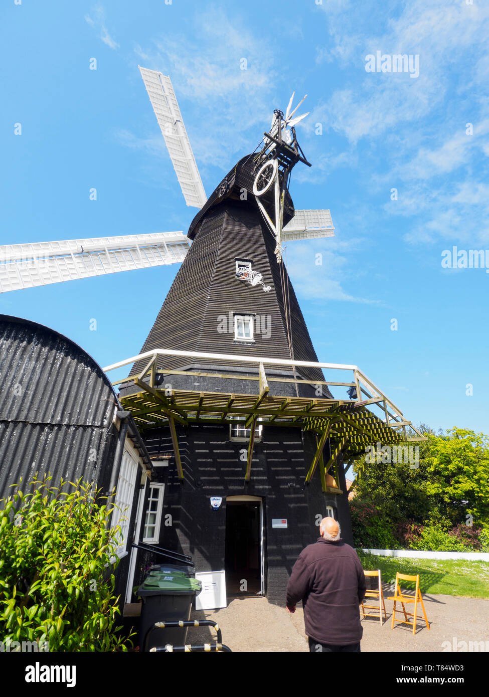 Herne, Kent, UK. 11th May, 2019. National Mills Weekend: Herne Windmill in Kent took part in this national event by opening the doors of its windmill to the public this afternoon. Herne Mill is a Kentish smock windmill dating from 1789. It is Grade I listed and is owned by Kent County Council and cared for by the Friends of Herne Mill.   Credit: James Bell/Alamy Live News - Stock Image