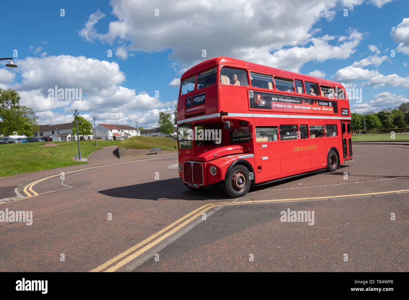 Glasgow, Scotland, UK. 11th May, 2019. UK Weather. A vintage 1966 Routemaster Bus used by the company Red Bus Bistro in Glasgow Green giving gourmet food and drink tours around Glasgow. Credit: Skully/Alamy Live News - Stock Image