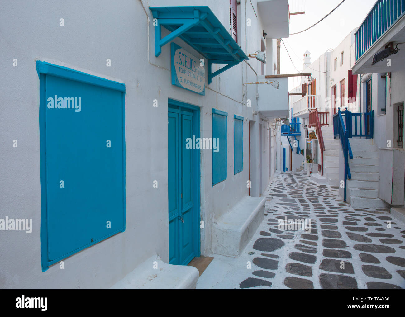 Mykonos Town, Mykonos, South Aegean, Greece. View along a typical whitewashed alley in the Little Venice quarter. Stock Photo