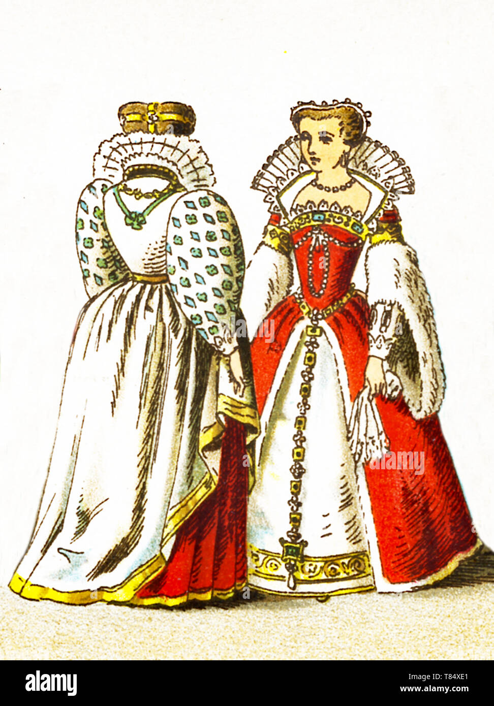 The figures represented here are French people between 1550 and 1600. They are, from left to right: a court costumes worn by a noble lady at the time and Louisa of Lorraine the consort of Henry III. The illustration dates to 1882. - Stock Image