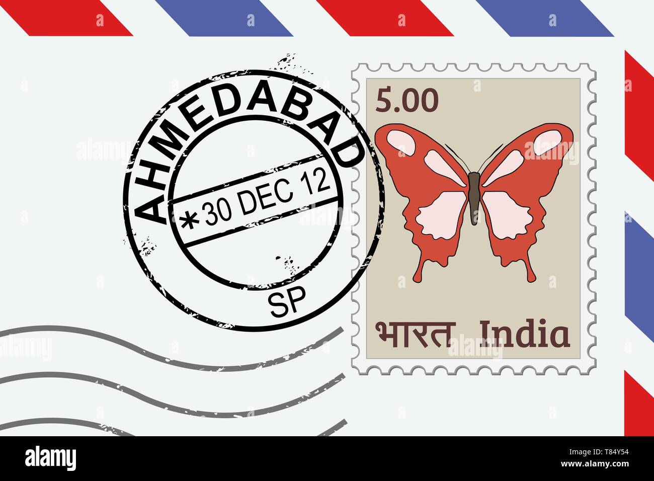 Ahmedabad postage stamp - India post stamp on a lettern. - Stock Vector