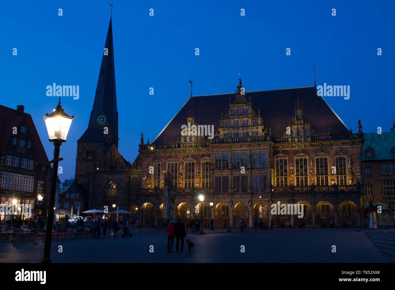 UNESCO cultural heritage town hall and market square in Bremen during blue hour Stock Photo