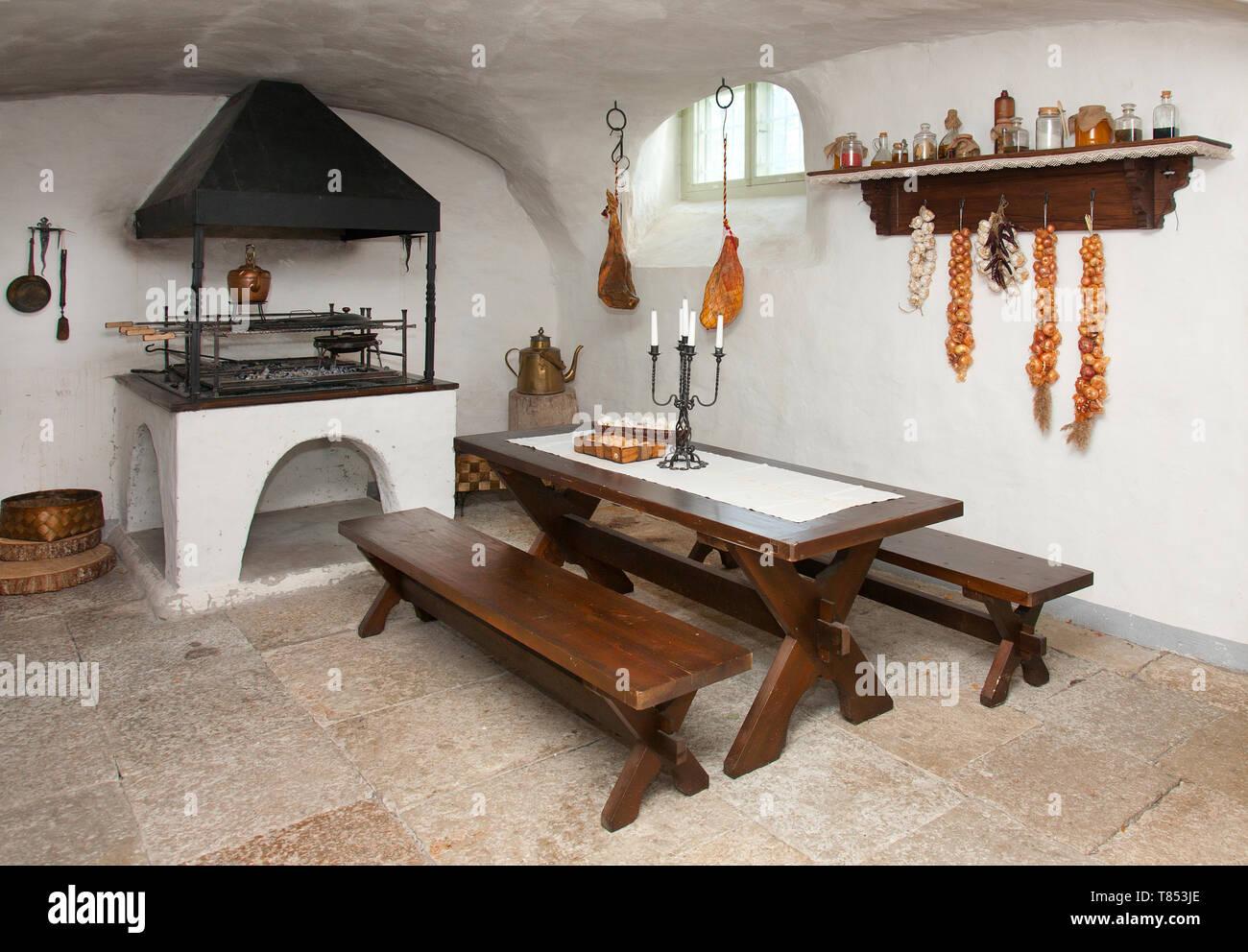 Basement Kitchen - Stock Image