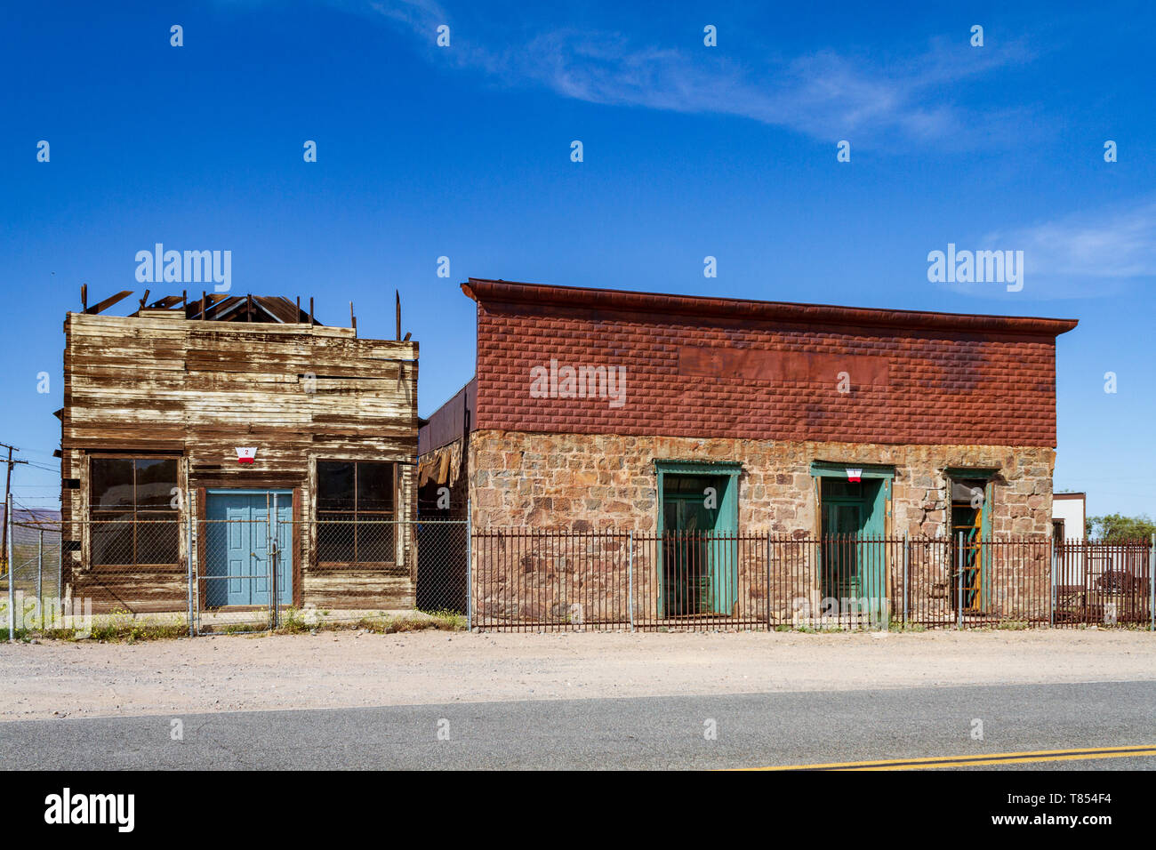 Barstow, CA / USA – April 14, 2019: Built in 1883, the Stone Hotel was a railroad hotel and restaurant for Southern Pacific Railroad in Daggett, Calif - Stock Image