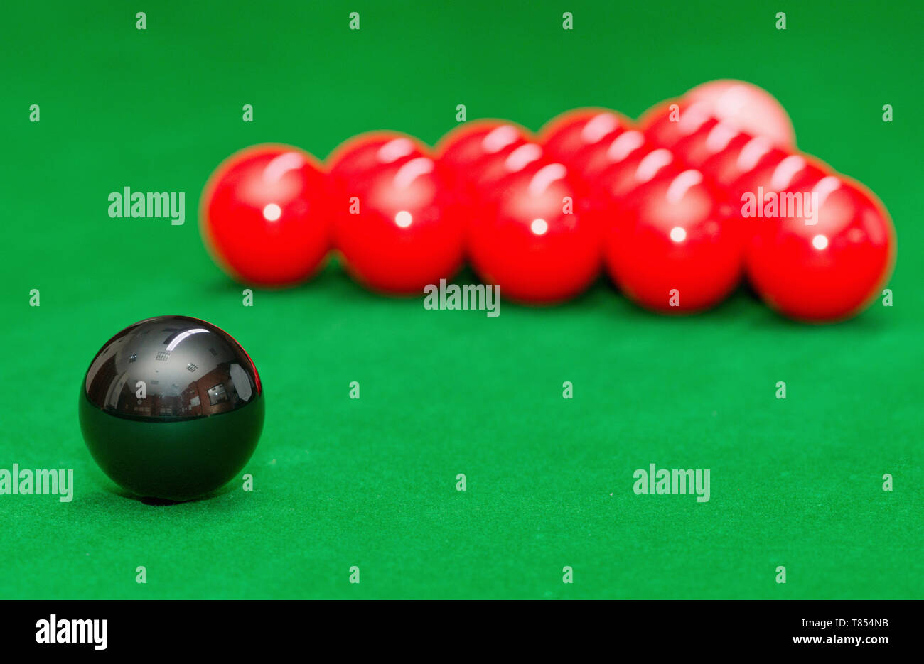 Snooker balls in starting position - Stock Image