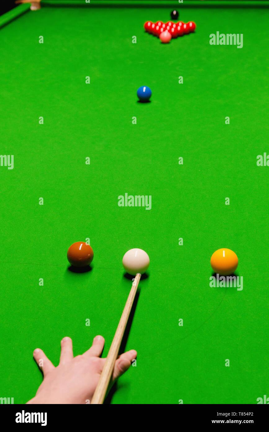 Opening snooker shot - Stock Image