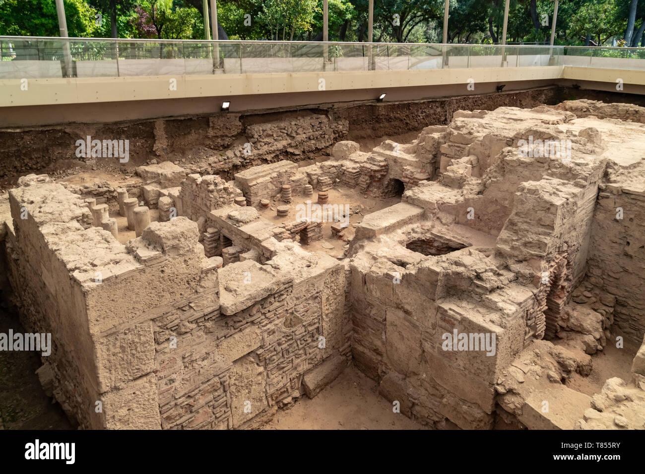 Third Ephorate of Athens Antiquities during the reign of emperor Hadrian.Excavated archaeological site of a roman bath house in Athens, Greece - Stock Image