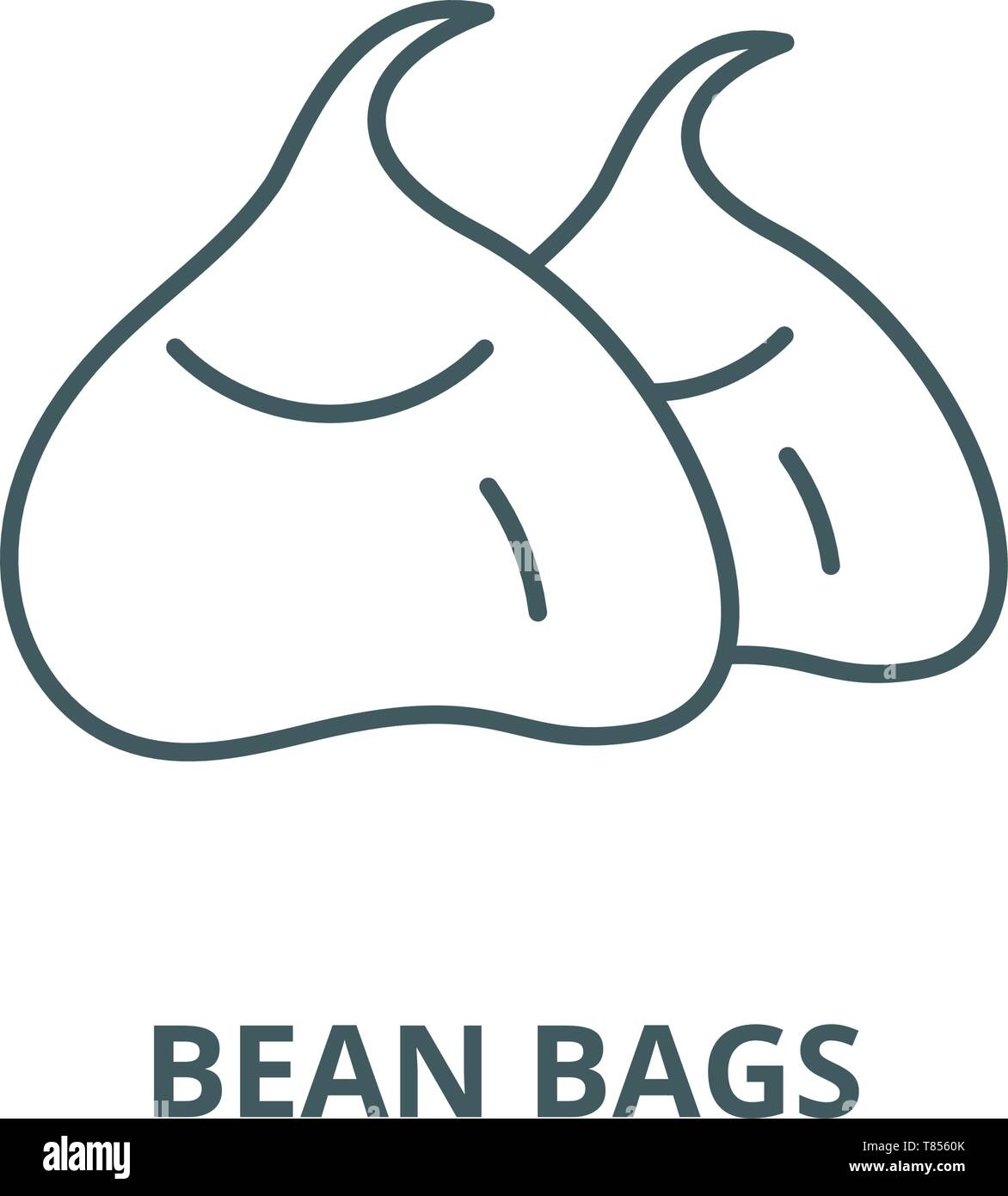 Bean bags vector line icon, linear concept, outline sign, symbol - Stock Vector