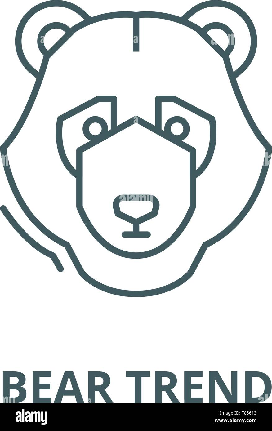 Bear trend vector line icon, linear concept, outline sign, symbol Stock Vector