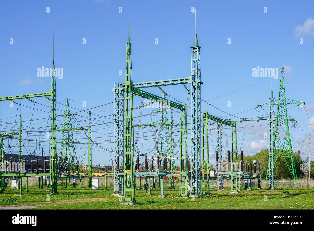 Electricity and power generation industry electric power transformation substation - Stock Image