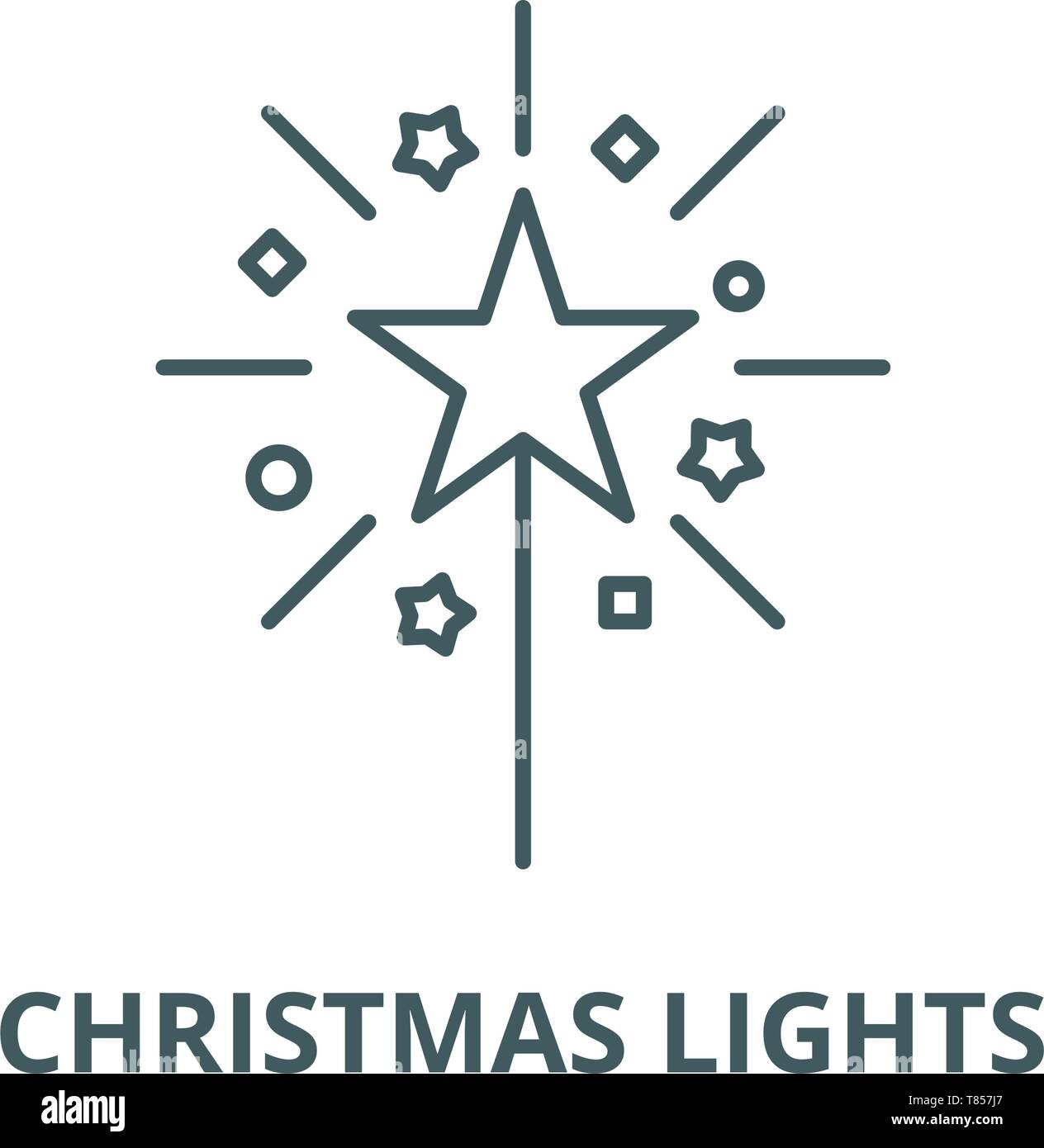 Christmas Cute Lights Vector Line Icon Linear Concept