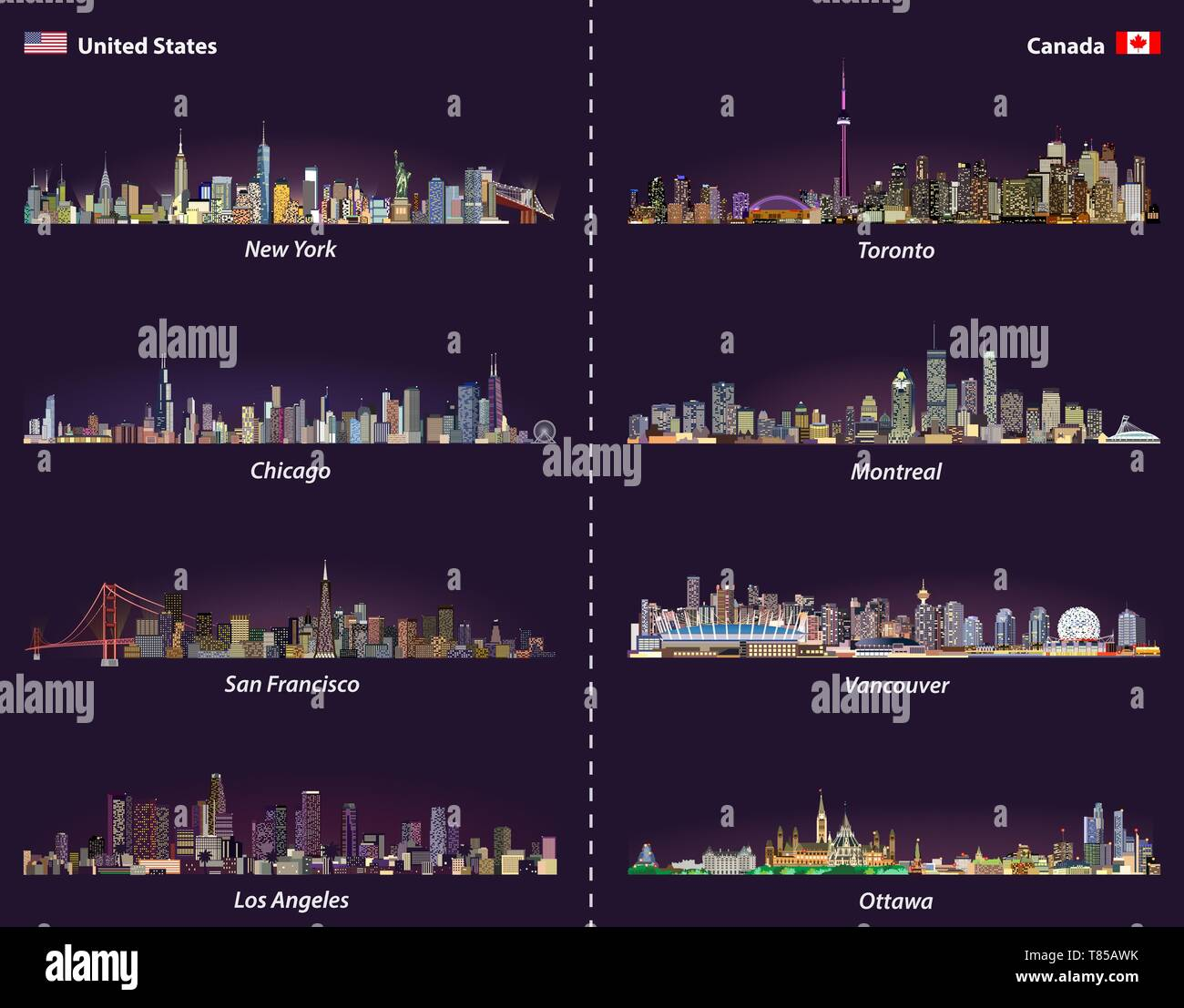 United States and Canadian city skylines at night vector set - Stock Vector