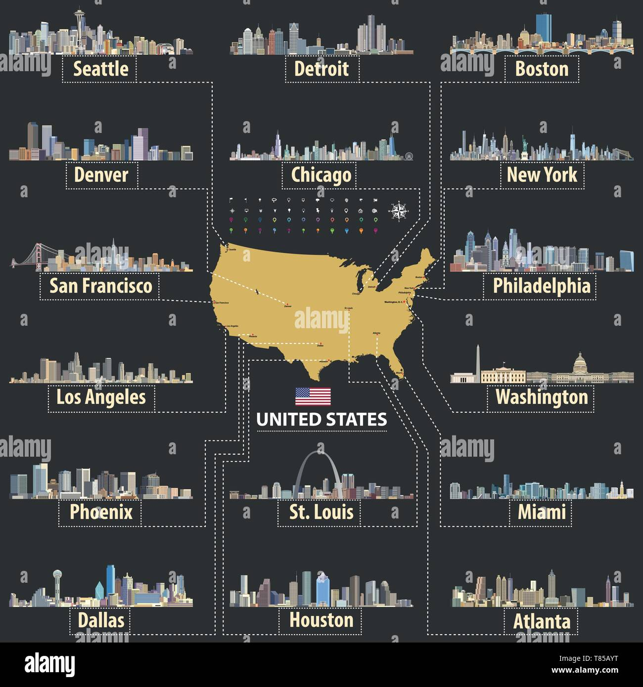 vector map of United States of America with largest cities' skylines - Stock Vector