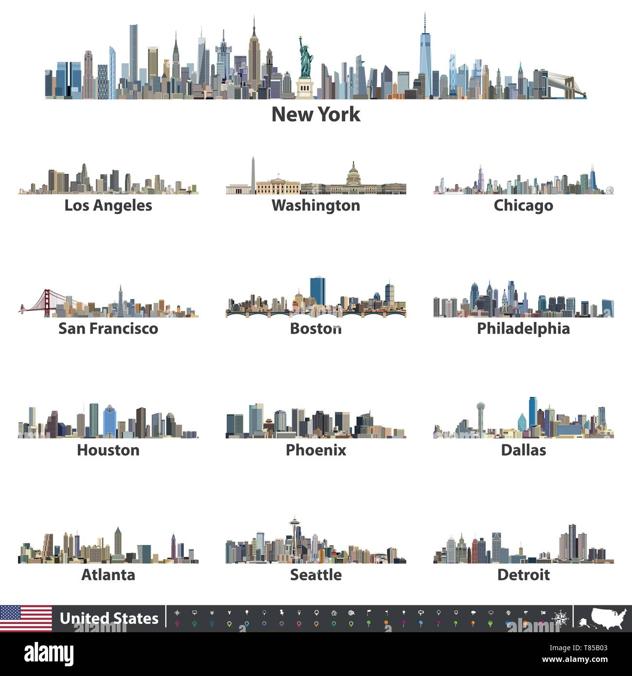 vector illustration of United States largest cities skylines - Stock Vector