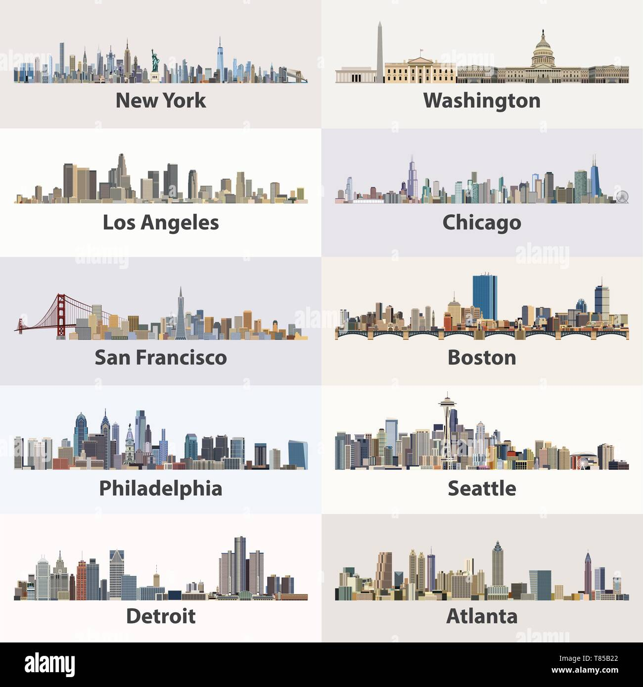 vector collection of United States cities skylines - Stock Vector