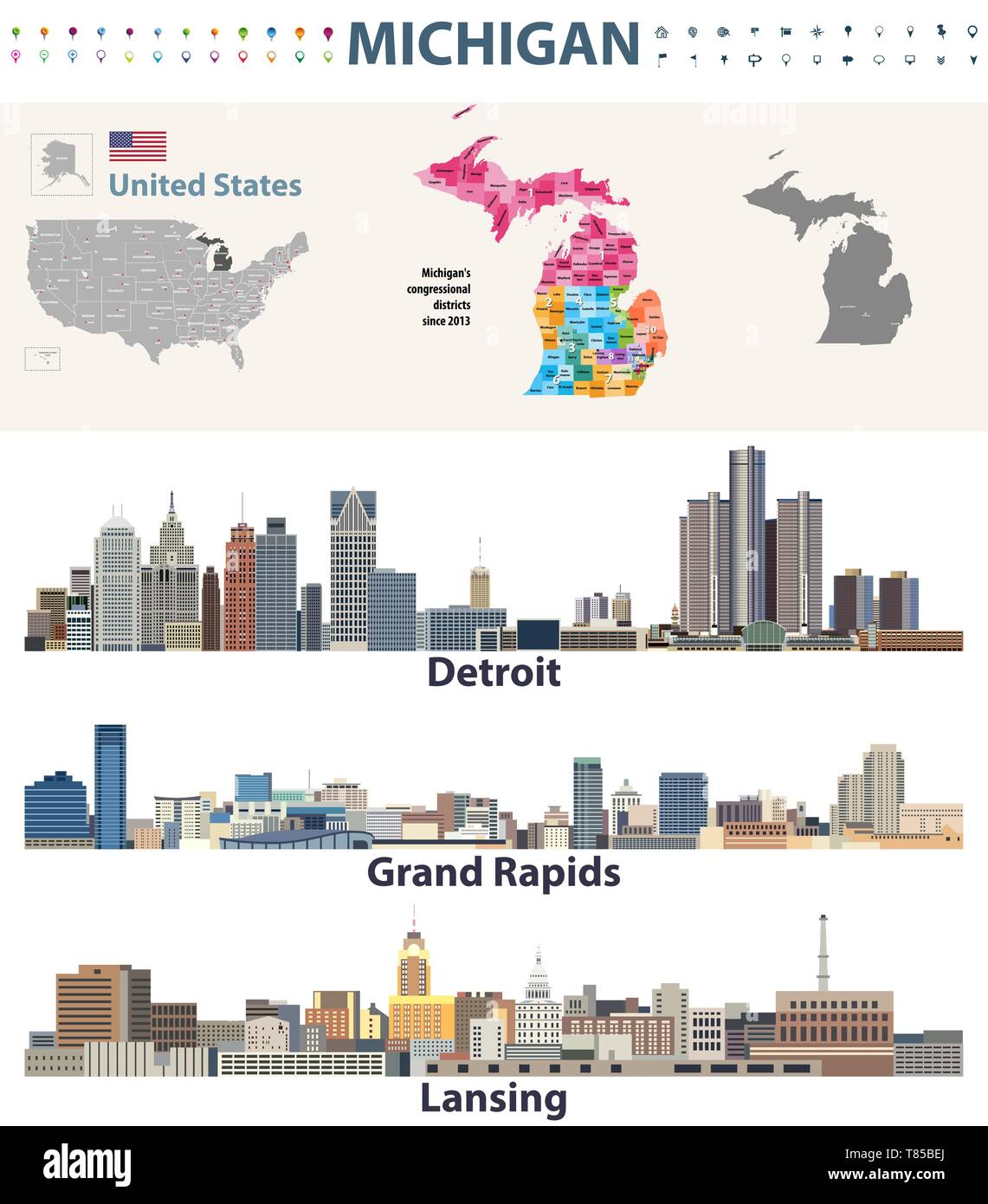 Detroit Map Outline Vector