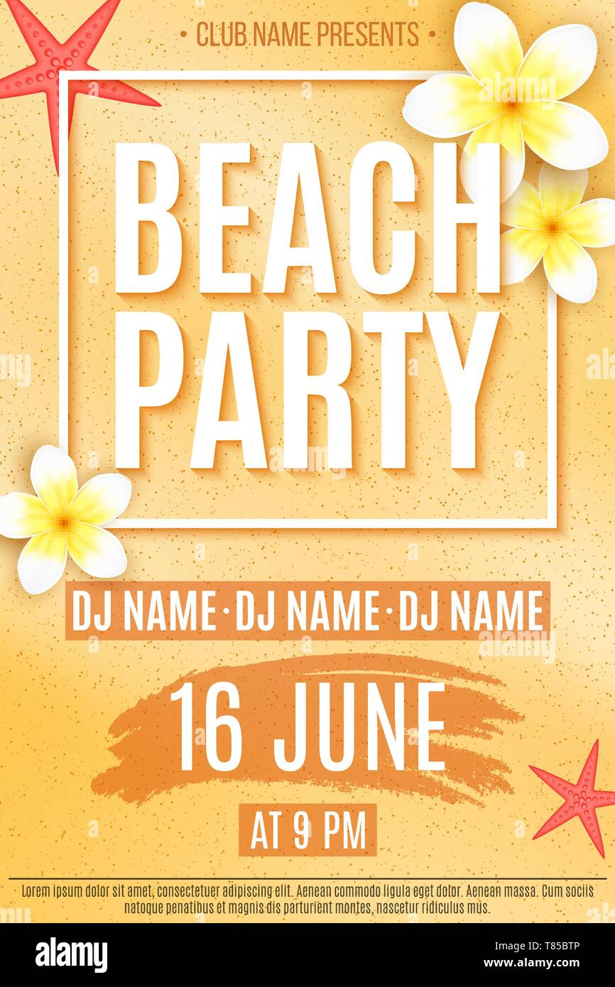 Festive Flyer For A Beach Party Invitation Flyer Tropical