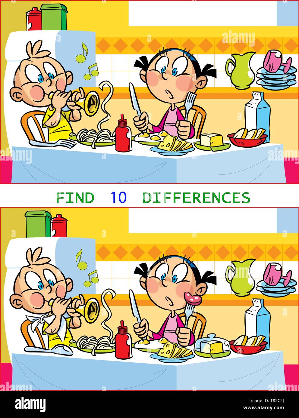 In vector illustration puzzle with children who play at the kitchen table. The task is to find ten differences between the images. - Stock Vector