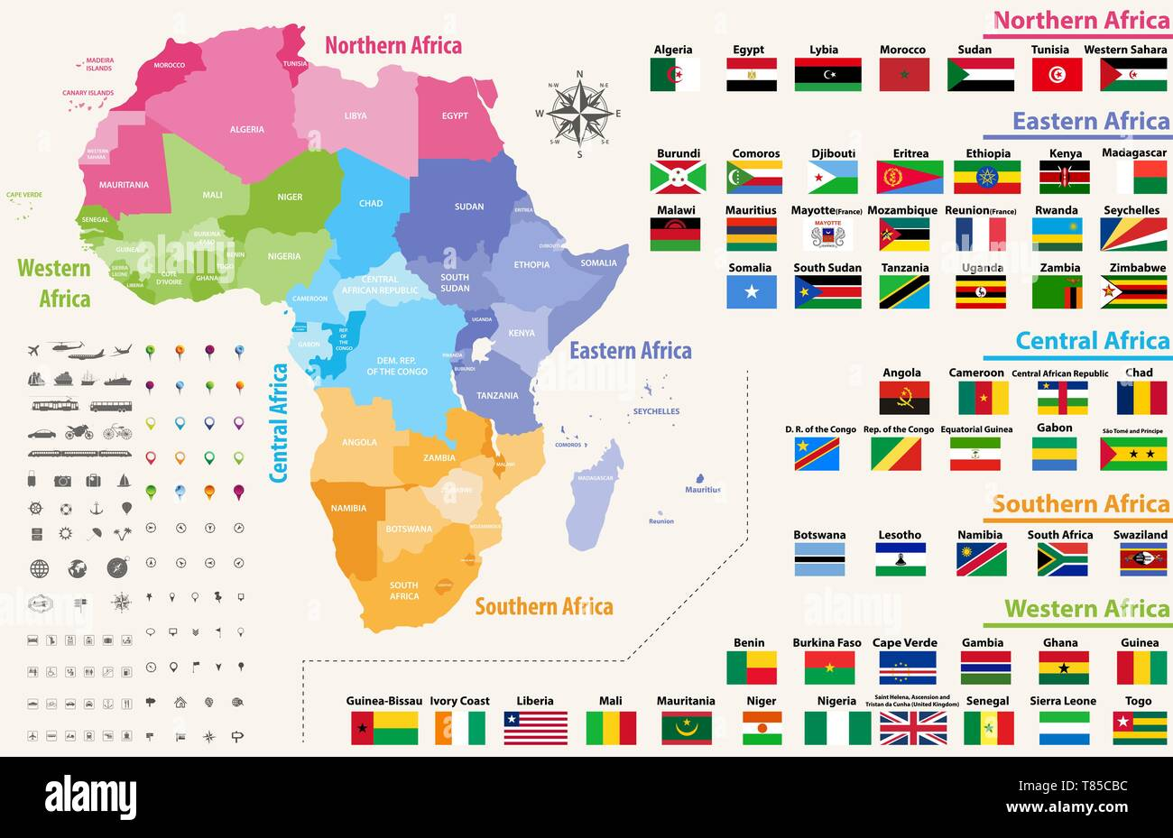 Map Of Africa Regions.Vector Map Of Africa Continent Colored By Regions All Flags