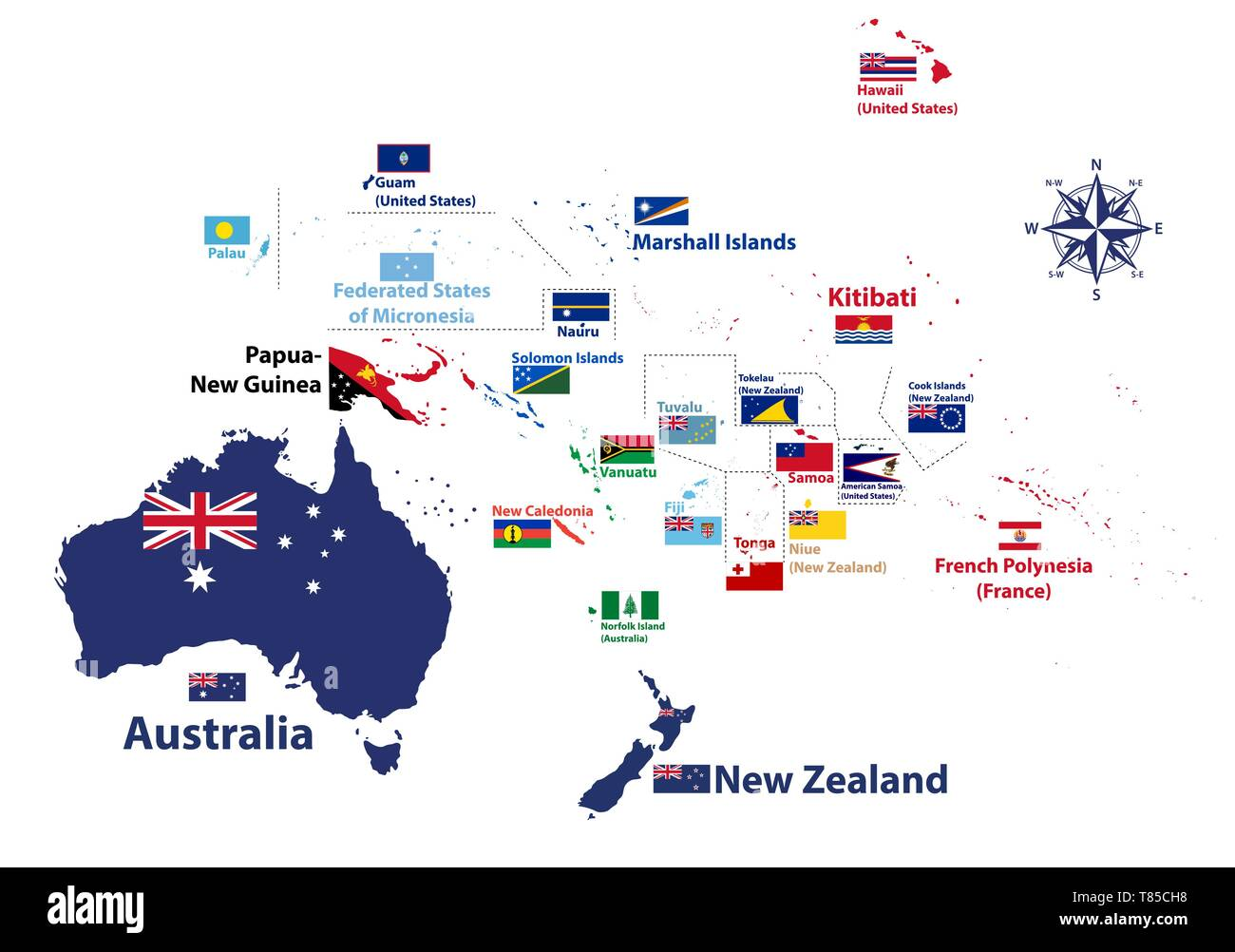 Australia and Oceania region vector high detailed map with ...