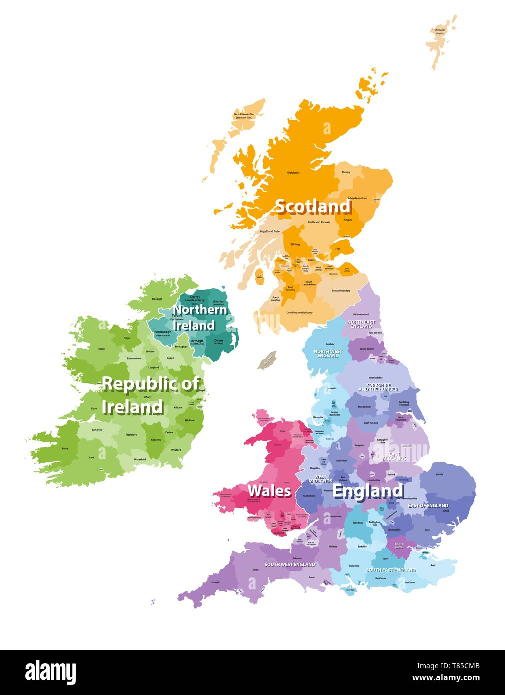 vector high detailed map of British Isles - Stock Vector