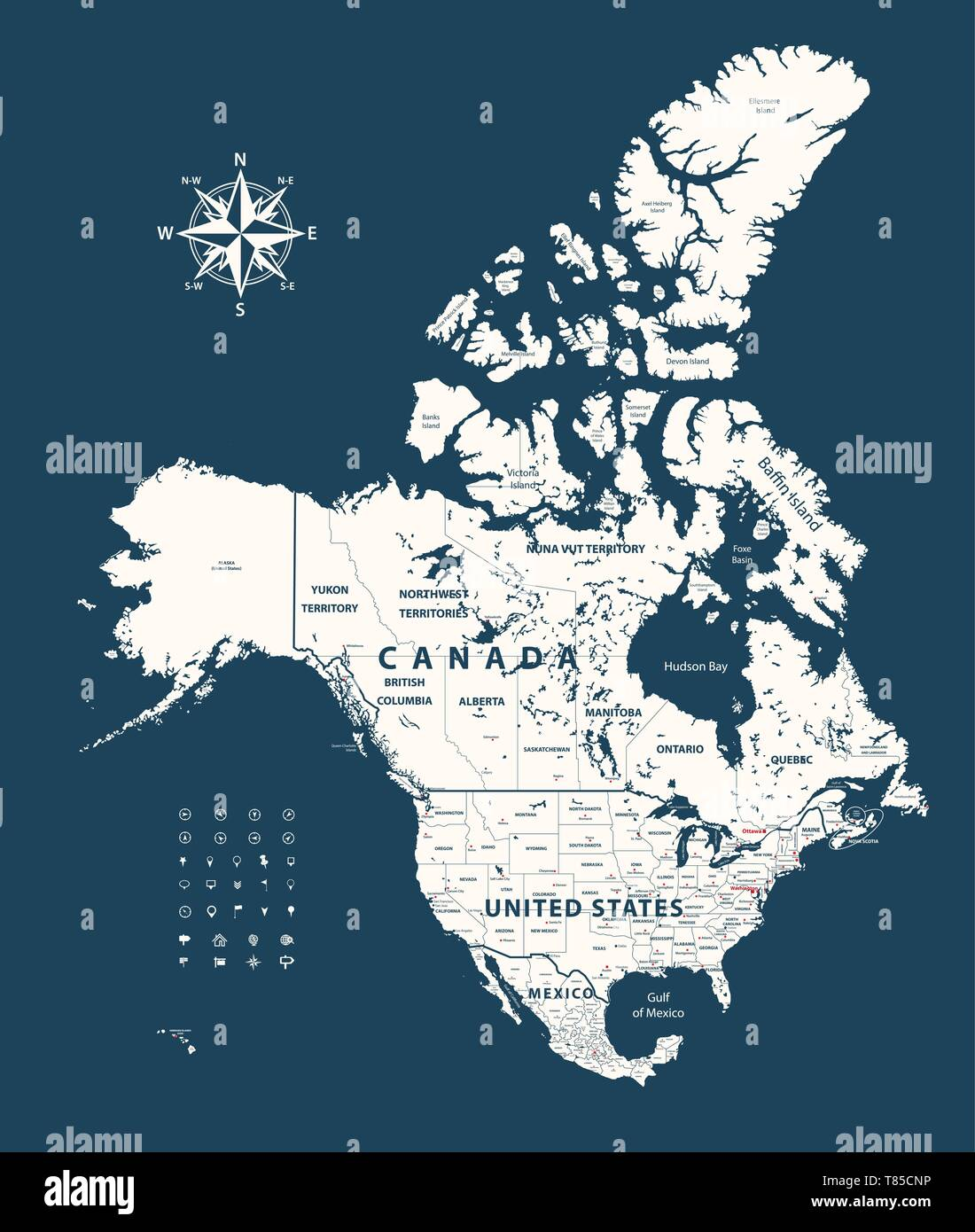 Picture of: Vector Map Of Canada United States And Mexico With States Borders And Capital Cities Stock Vector Image Art Alamy