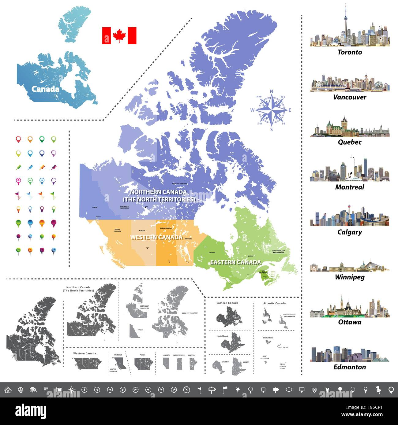 Canadian provinces and territories map colored by regions ...
