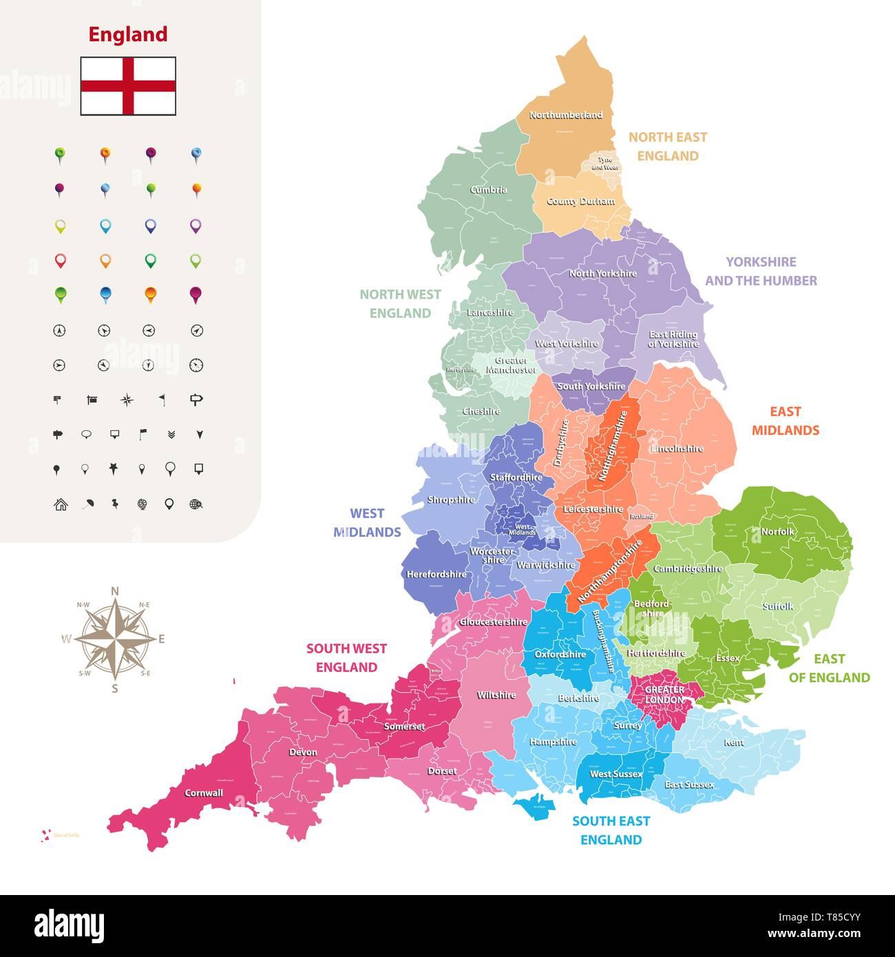England ceremonial counties vector map - Stock Vector