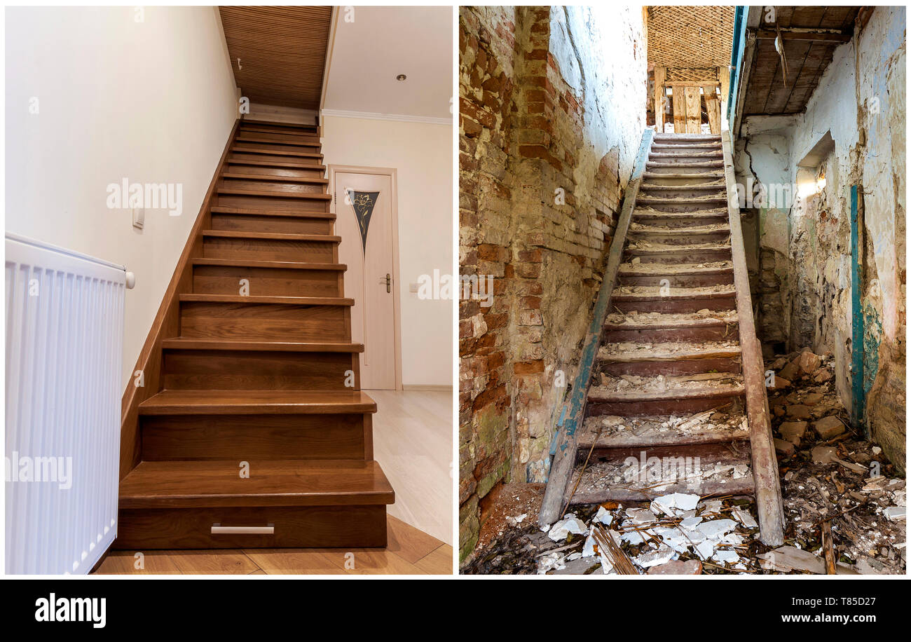 Superieur Comparison Of Modern Brown Wooden Staircase In New Renovated ...