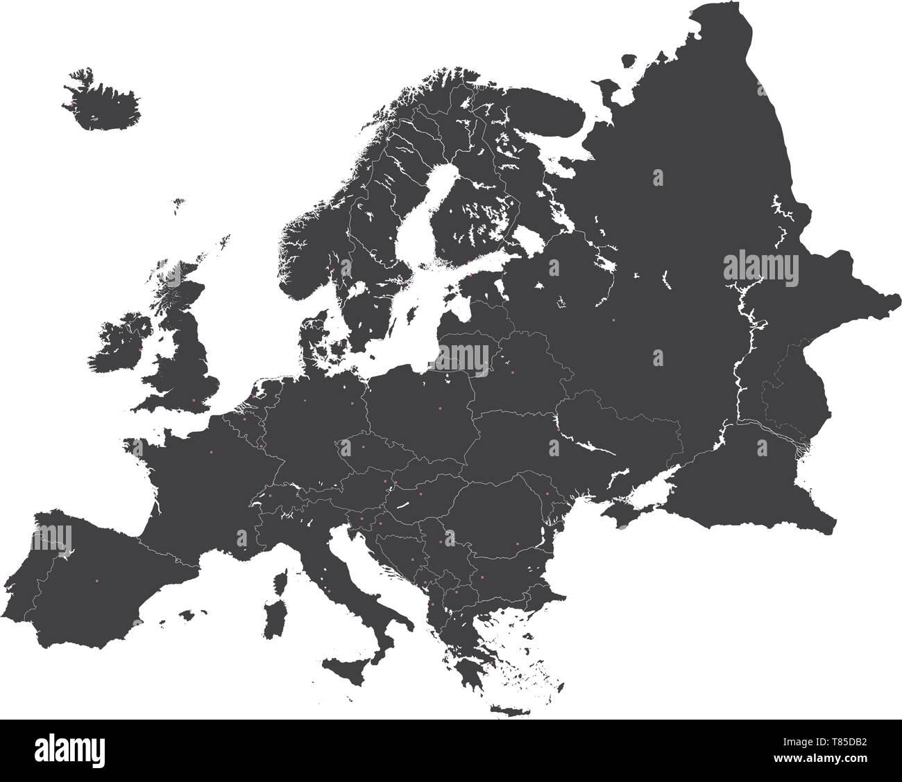Europe vector high detailed political map Stock Vector Art ...