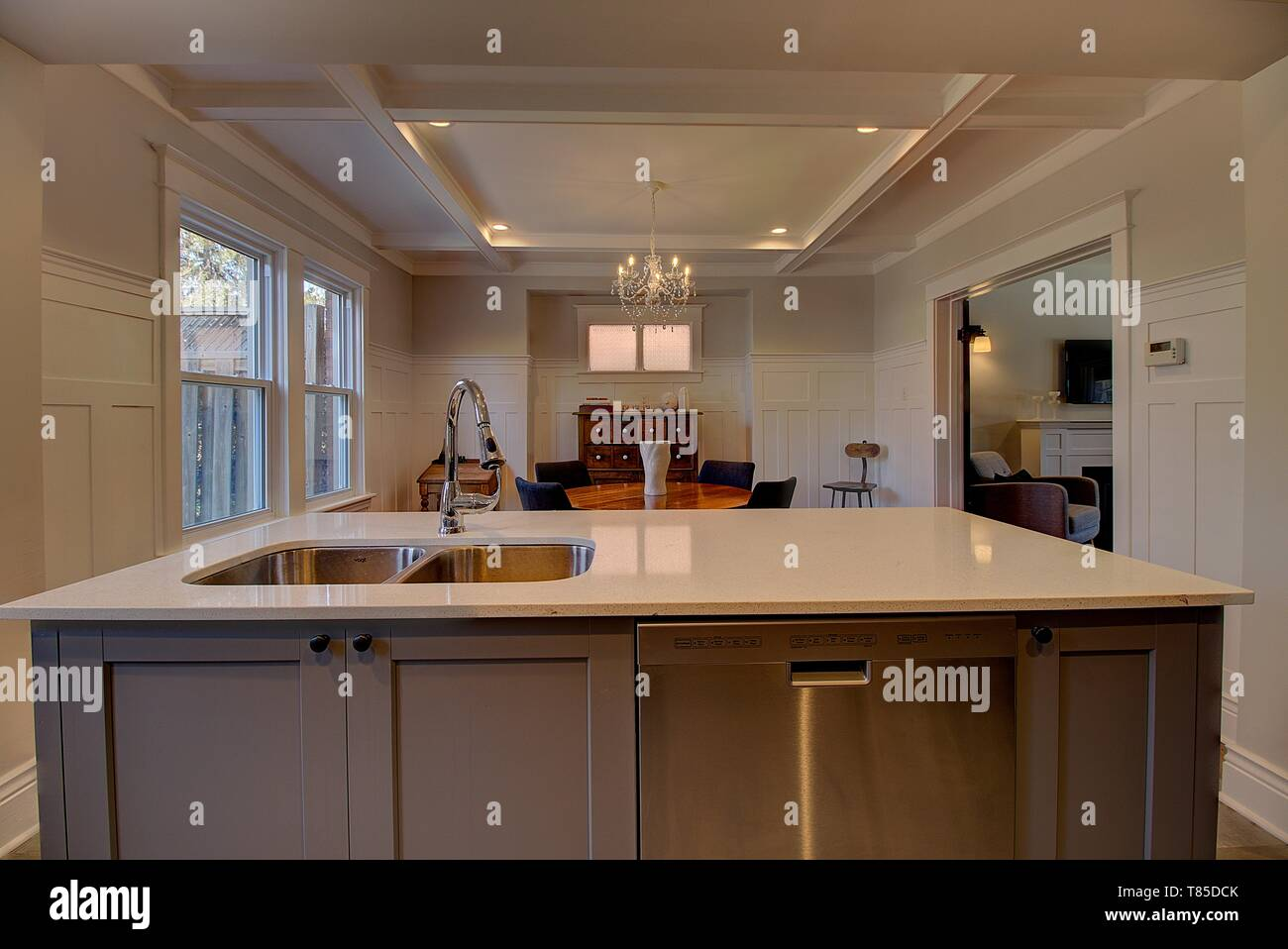 Kitchen Remodeling With New Cabinetry Pot Lights Coffered Ceiling Stock Photo Alamy