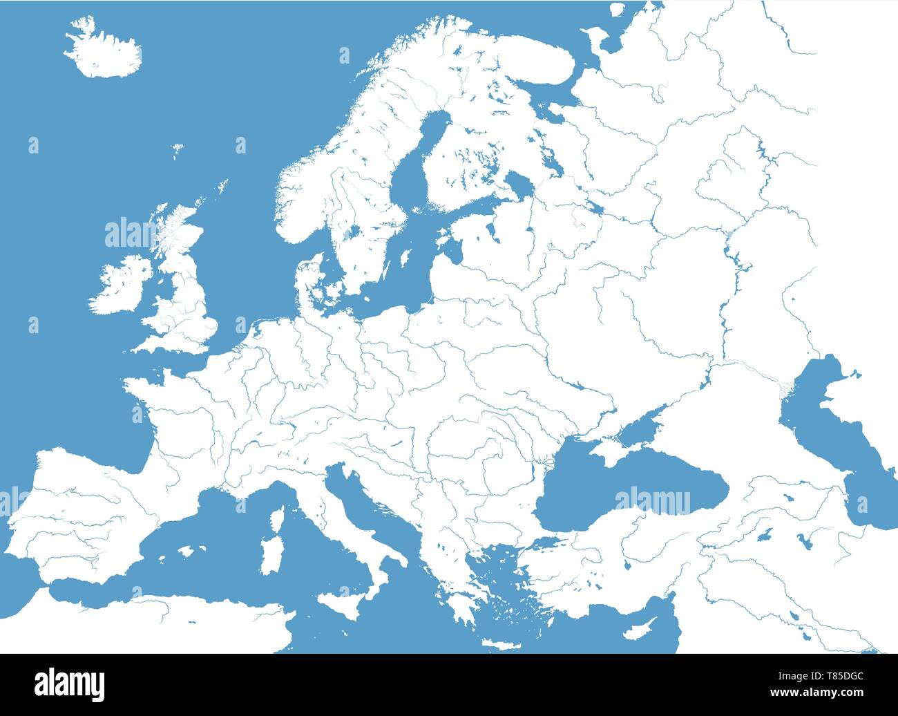 Europe high detailed vector political map with rivers and ...