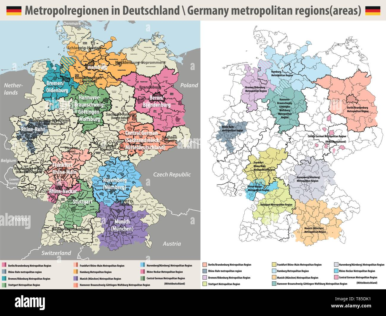 Detailed Map Of Germany.Vector High Detailed Map Of Germany Metropolitan Regions Areas