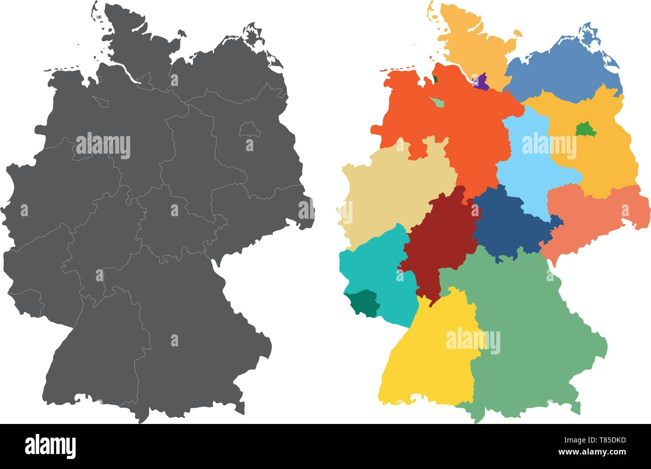 Germany high detailed vector map - Stock Vector