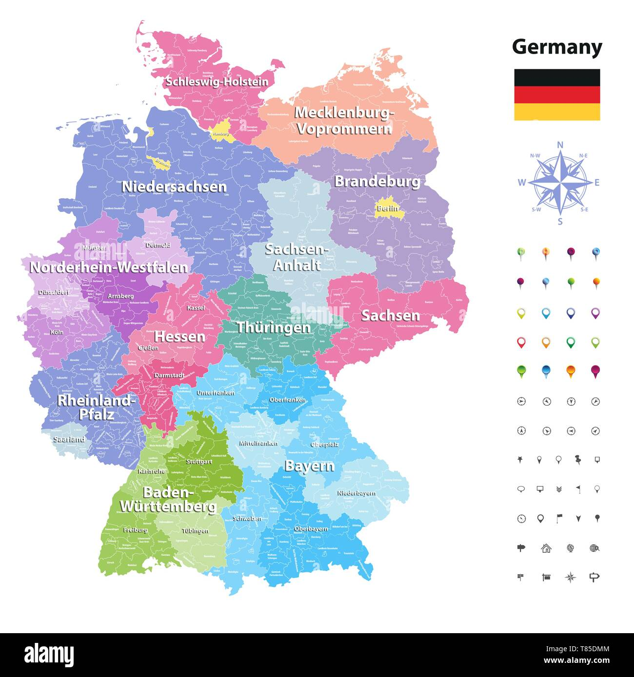 Germany high detailed vector map (colored by states and administrative districts - Stock Vector